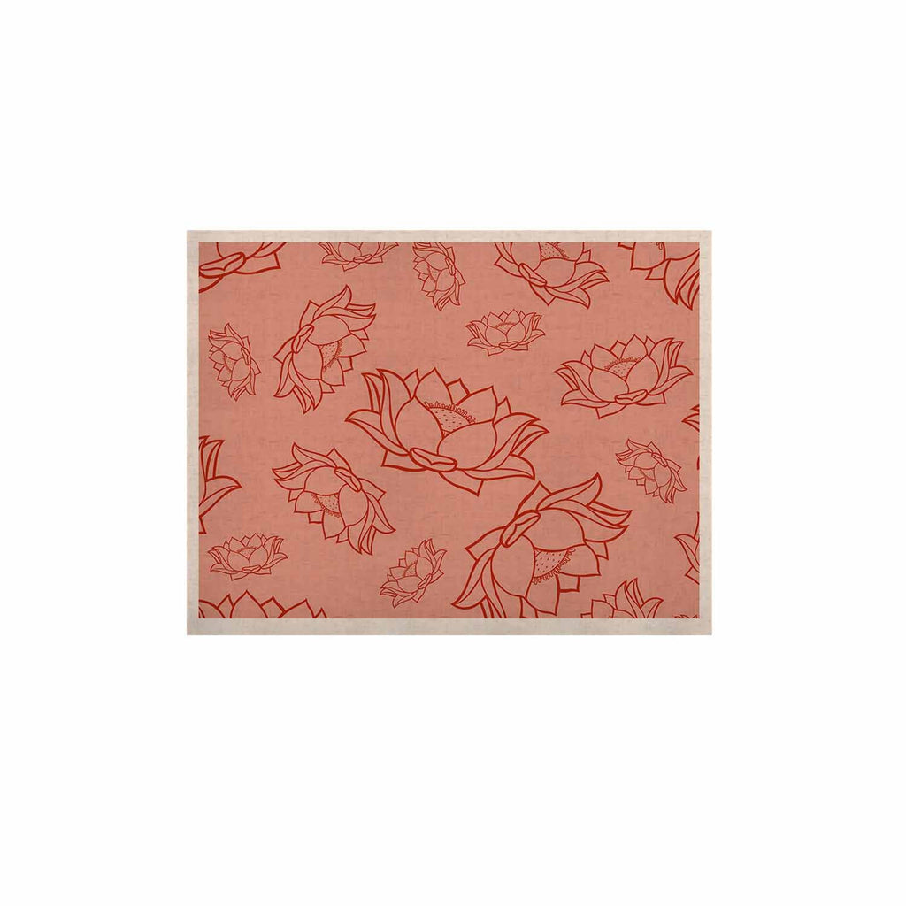 "KESS Original ""Lotus Pattern - Red"" Coral Floral KESS Naturals Canvas (Frame not Included) - KESS InHouse  - 1"