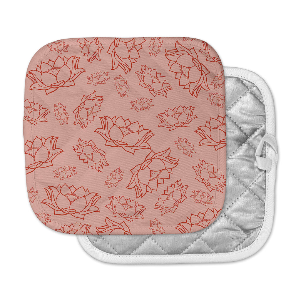 "KESS Original ""Lotus Pattern - Red"" Coral Floral Pot Holder"