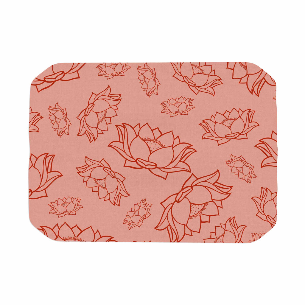 "KESS Original ""Lotus Pattern - Red"" Coral Floral Place Mat - KESS InHouse"