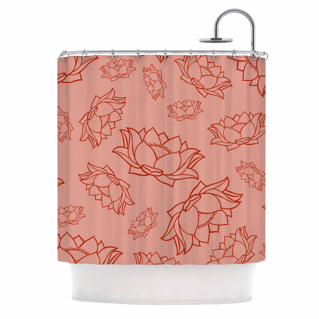 "KESS Original ""Lotus Pattern - Red"" Coral Floral Shower Curtain - KESS InHouse"