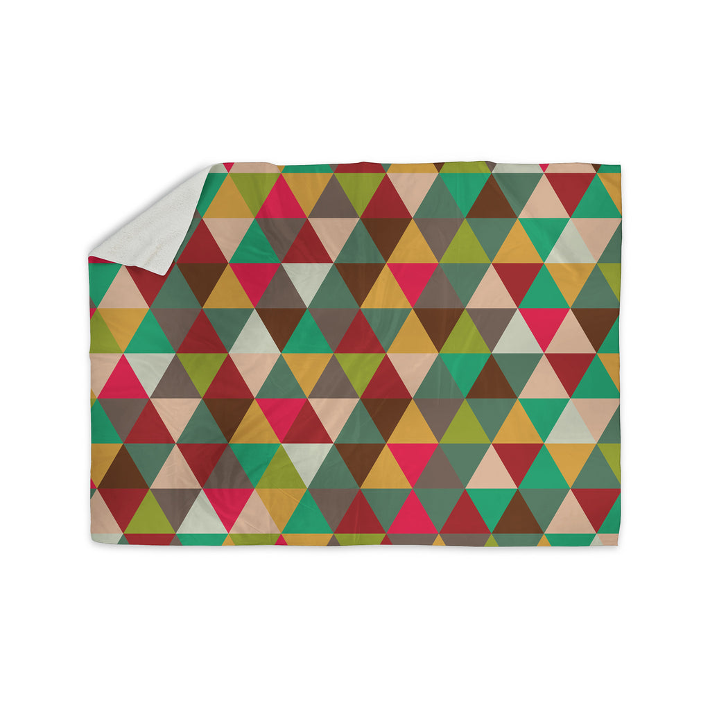 "KESS Original ""Autumn Triangle Spectrum"" Multicolor Geometric Sherpa Blanket - KESS InHouse  - 1"