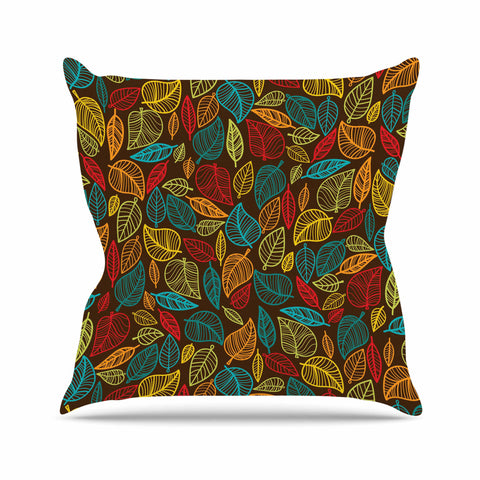 "KESS Original ""Leaves All Around"" Multicolor Brown Throw Pillow - KESS InHouse  - 1"
