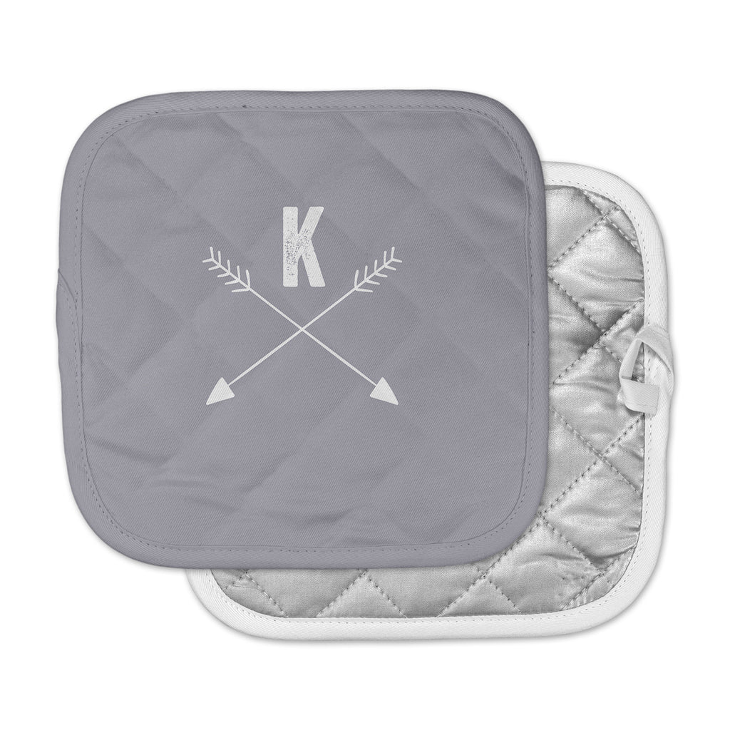 "KESS Original ""Gray Arrow Monogram"" Pot Holder"