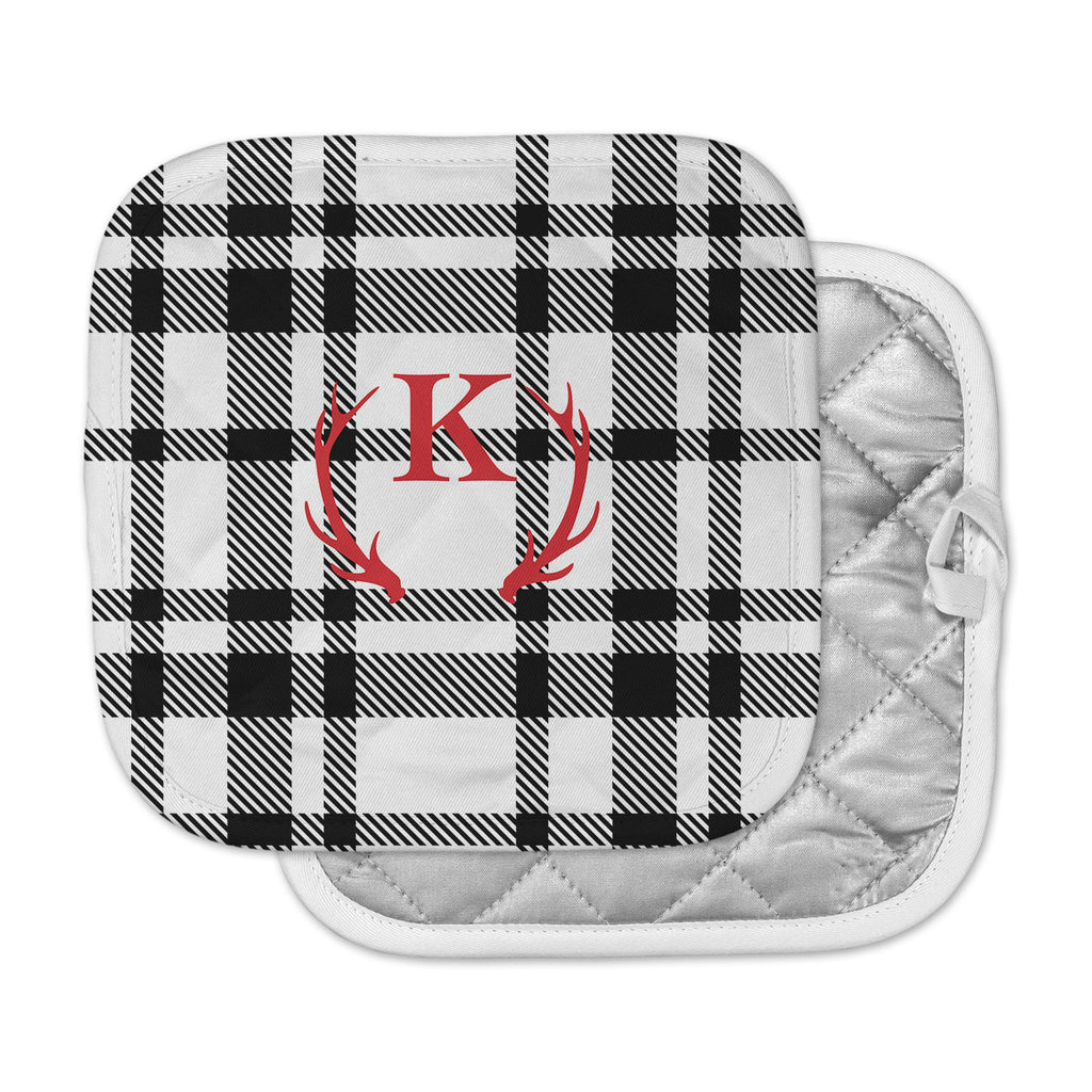 "KESS Original ""White Plaid Monogram"" Pot Holder"