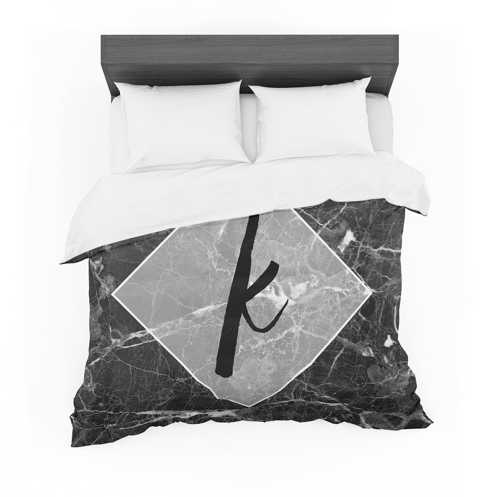 "KESS Original ""Black Marble Monogram"" Featherweight Duvet Cover"