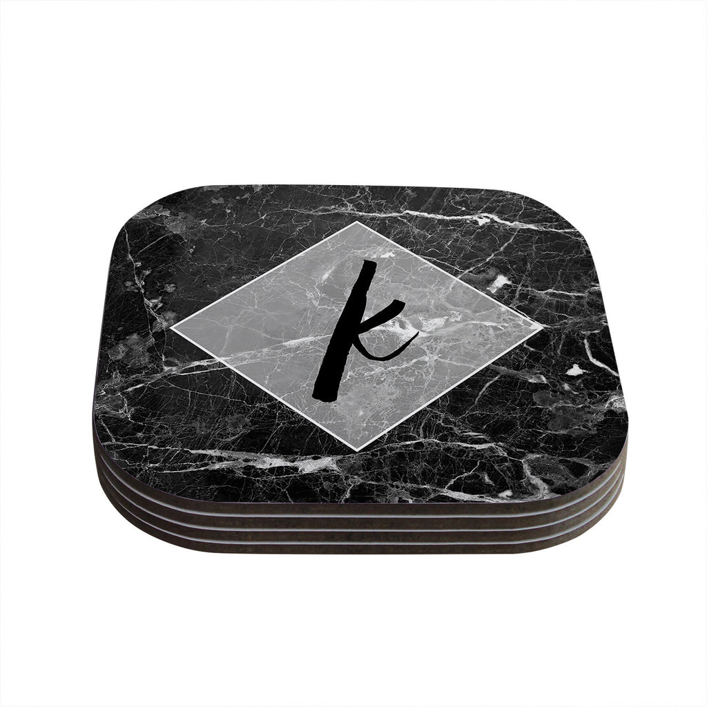 "KESS Original ""Black Marble Monogram"" Coasters (Set of 4)"