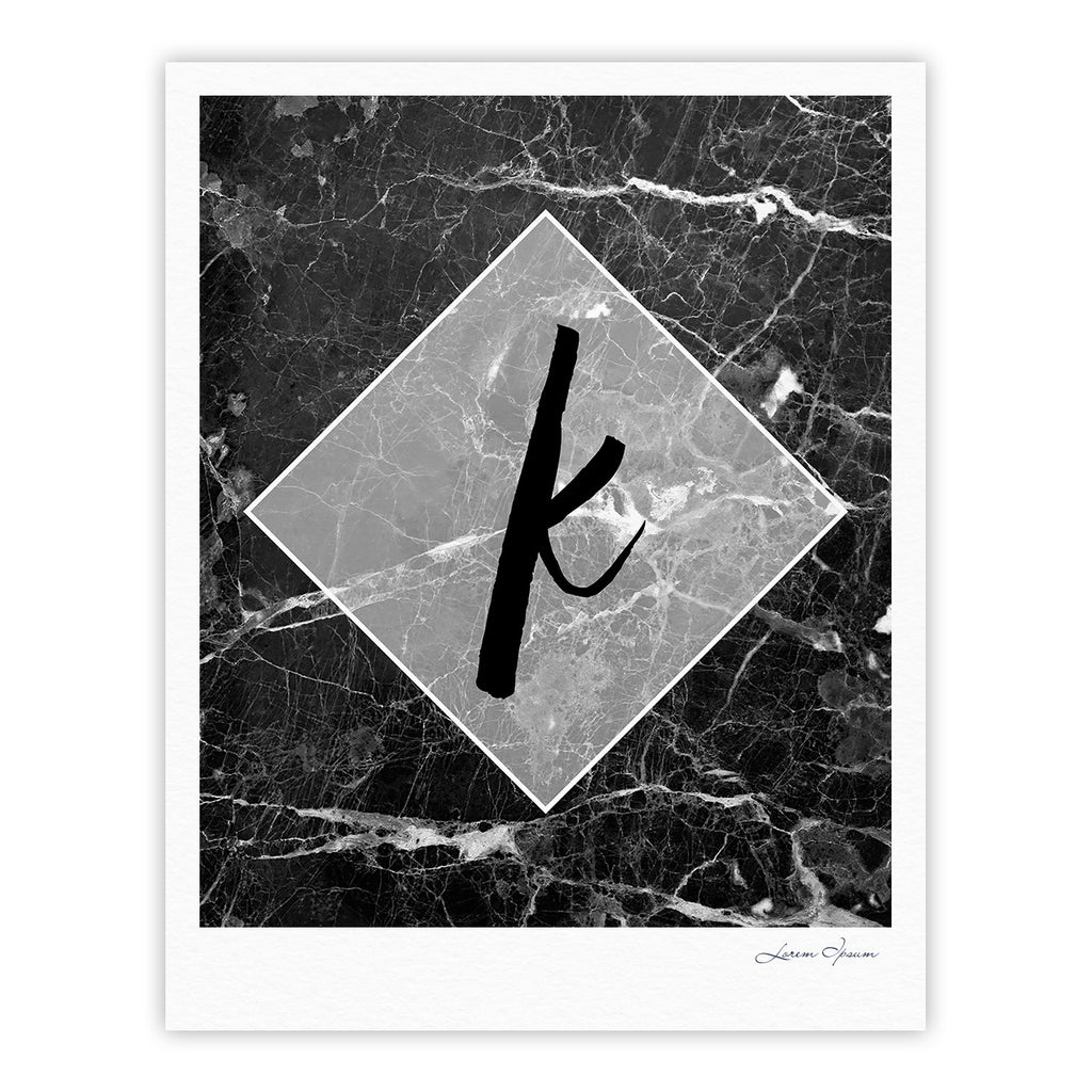 "KESS Original ""Black Marble Monogram"" Fine Art Gallery Print"