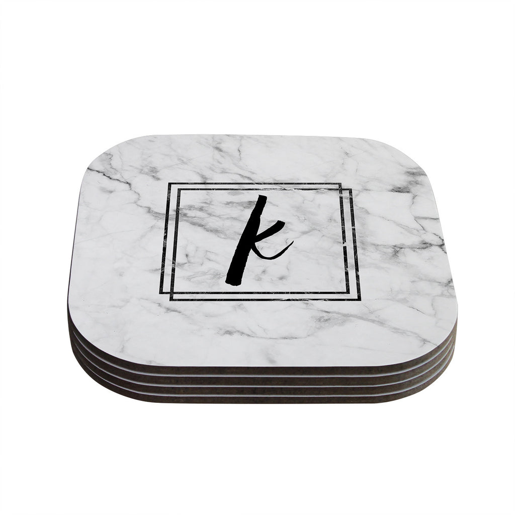 "KESS Original ""Gray Marble Monogram"" Coasters (Set of 4)"
