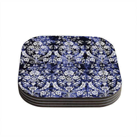 "KESS Original ""Baroque Blue Velvet"" Abstract Floral Coasters (Set of 4)"