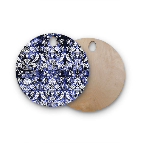 "KESS Original ""Baroque Blue Velvet"" Abstract Floral Round Wooden Cutting Board"