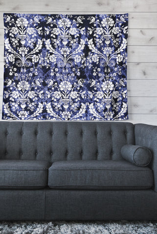 "KESS Original ""Baroque Blue Velvet"" Abstract Floral Wall Tapestry - Outlet Item"
