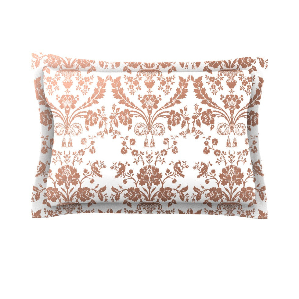 "KESS Original ""Baroque Rose Gold"" Abstract Floral Pillow Sham ..."