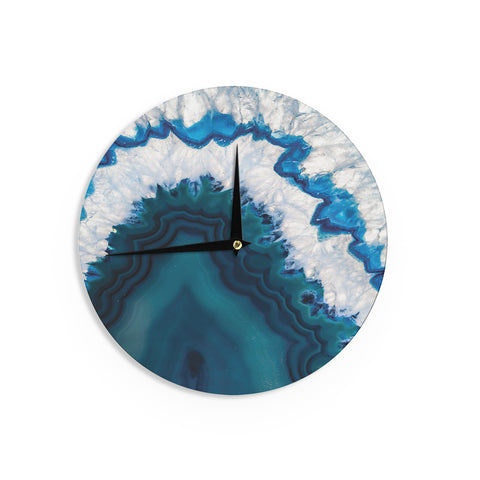 "KESS Original ""Blue Geode"" Nature Photography Wall Clock - Outlet Item"