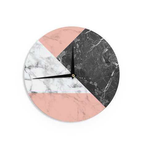 "KESS Original ""Geo Marble and Coral"" Black Art Deco Wall Clock - Outlet Item"