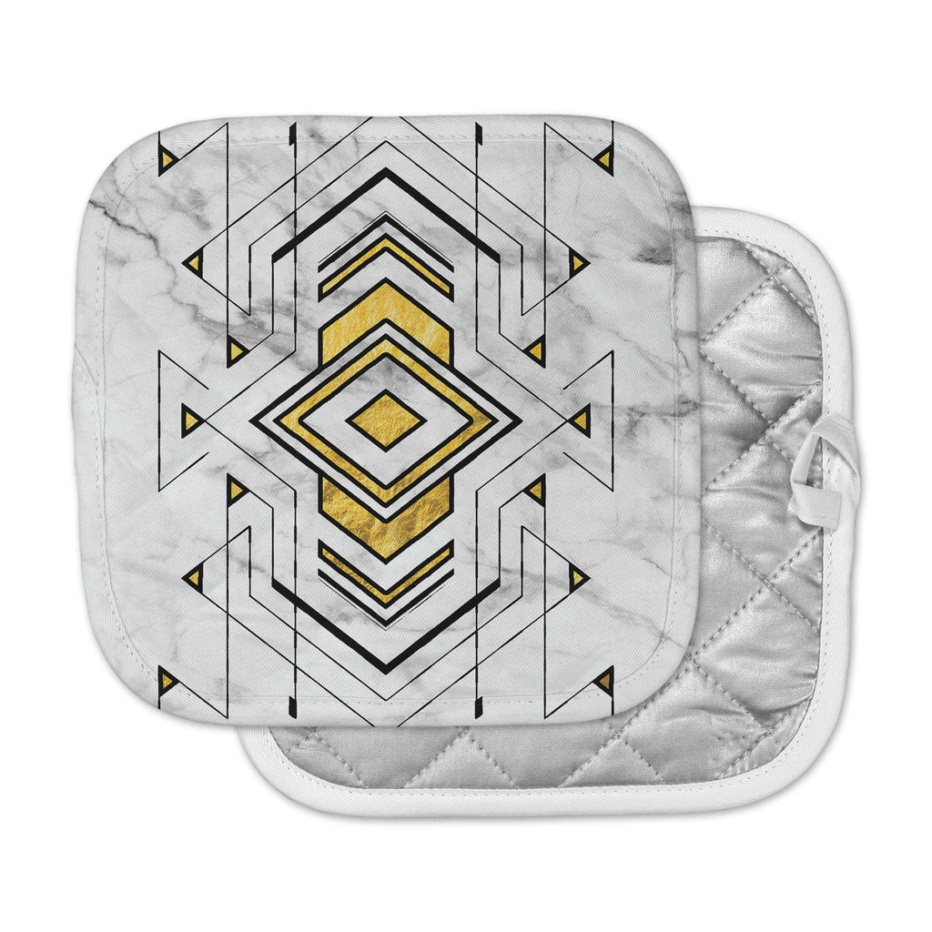 "KESS Original ""Geo Marble Graphic"" Gold Tribal Pot Holder"
