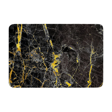 "KESS Original ""Gold Fleck Black Marble"" Digital Abstract Memory Foam Bath Mat - Outlet Item"