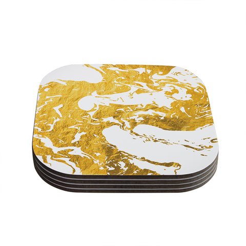 "KESS Original ""Gold Ink on Water"" White Metal Coasters (Set of 4) - Outlet Item"