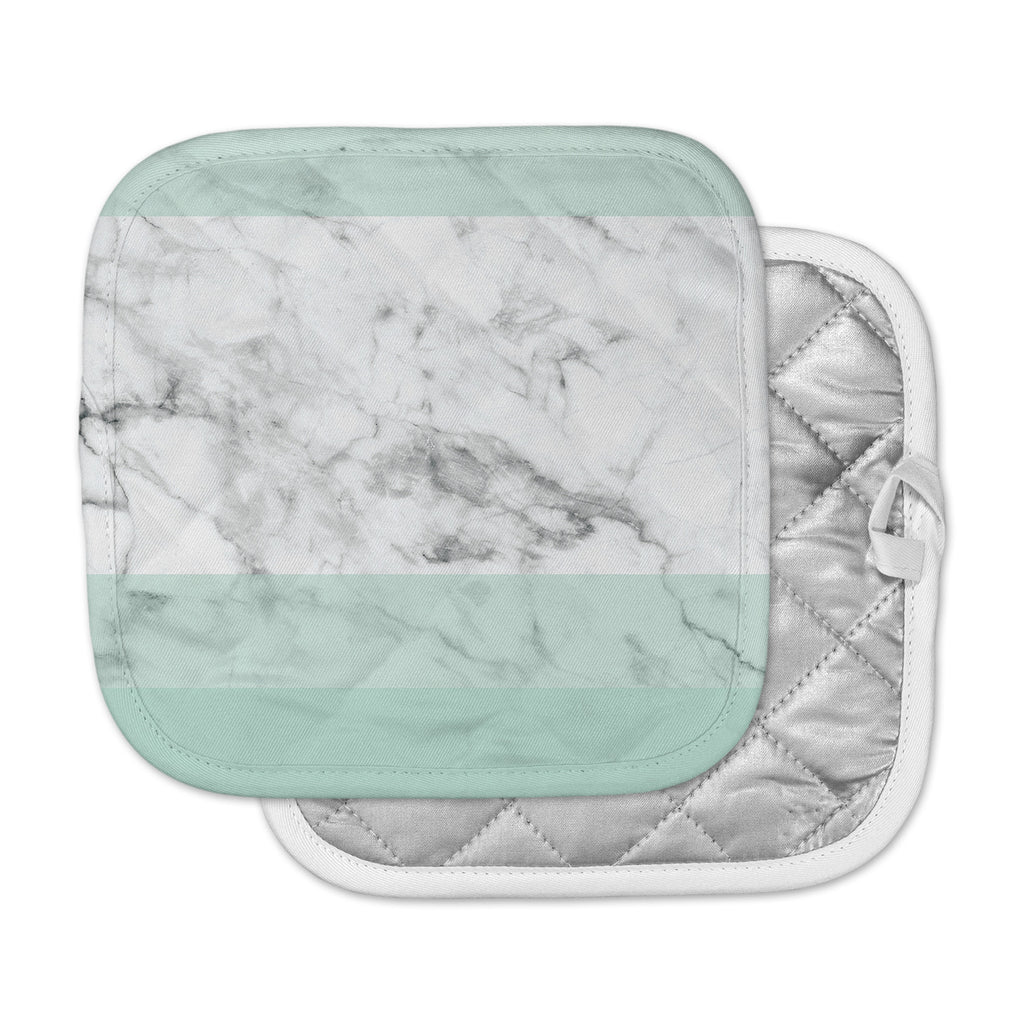 "KESS Original ""Mint Marble Fade"" White Green Pot Holder"