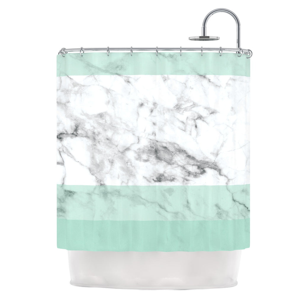 Mint Marble Fade Shower Curtain By KESS Original