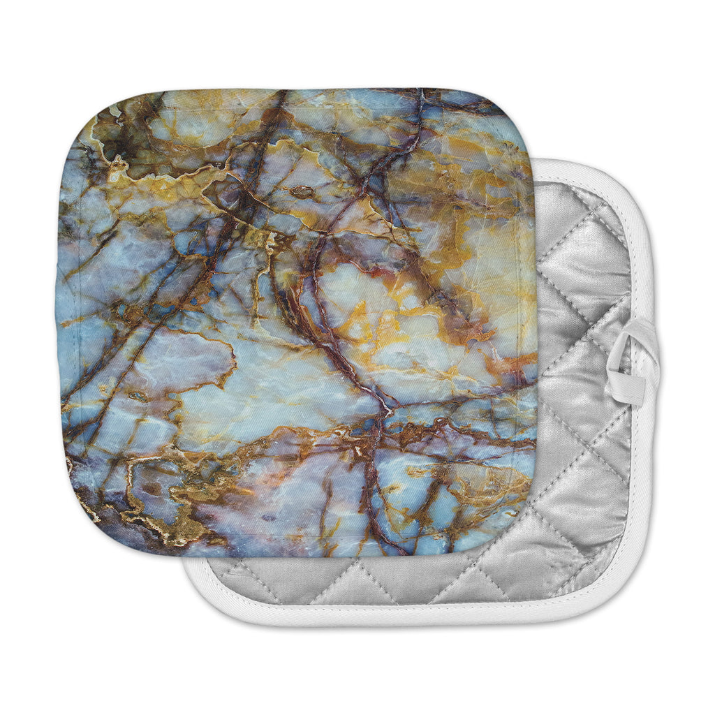"KESS Original ""Opalized Marble"" Blue Brown Pot Holder"