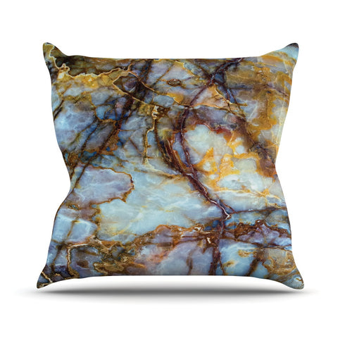 "KESS Original ""Opalized Marble"" Blue Brown Throw Pillow - KESS InHouse  - 1"