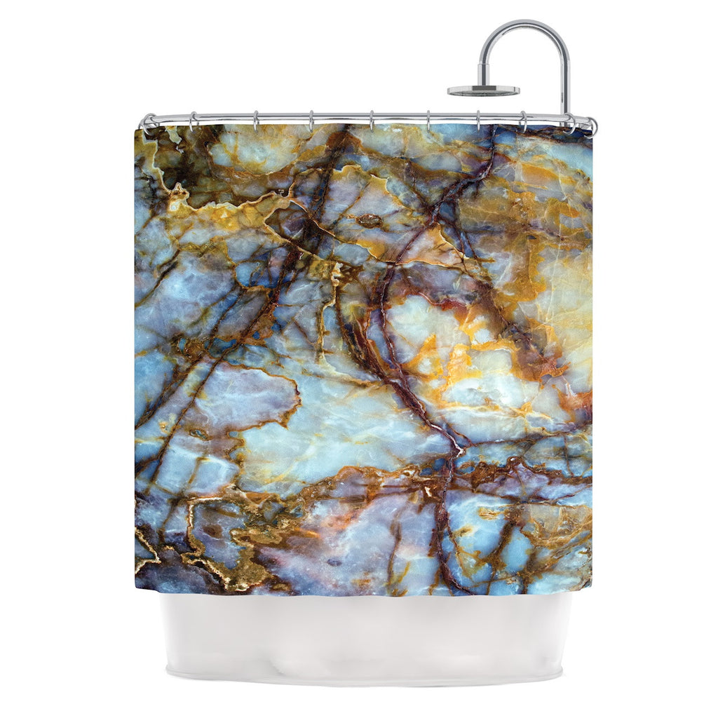 KESS Original Opalized Marble Blue Brown Shower Curtain