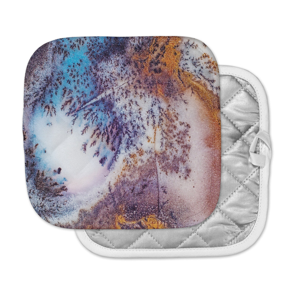 "KESS Original ""Snow Agate"" Blue Orange Pot Holder"