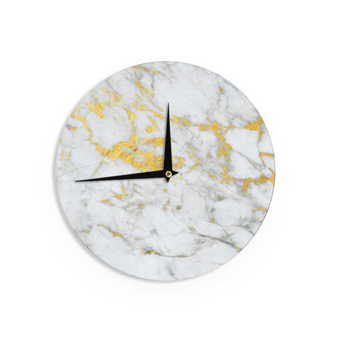 "KESS Original ""Gold Flake"" Marble Metal Wall Clock - Outlet Item"