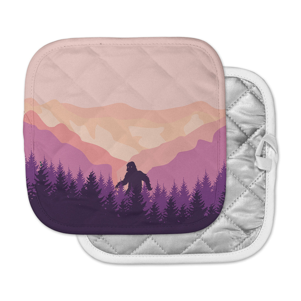 "KESS Original ""Big Foot"" Pink Purple Pot Holder"
