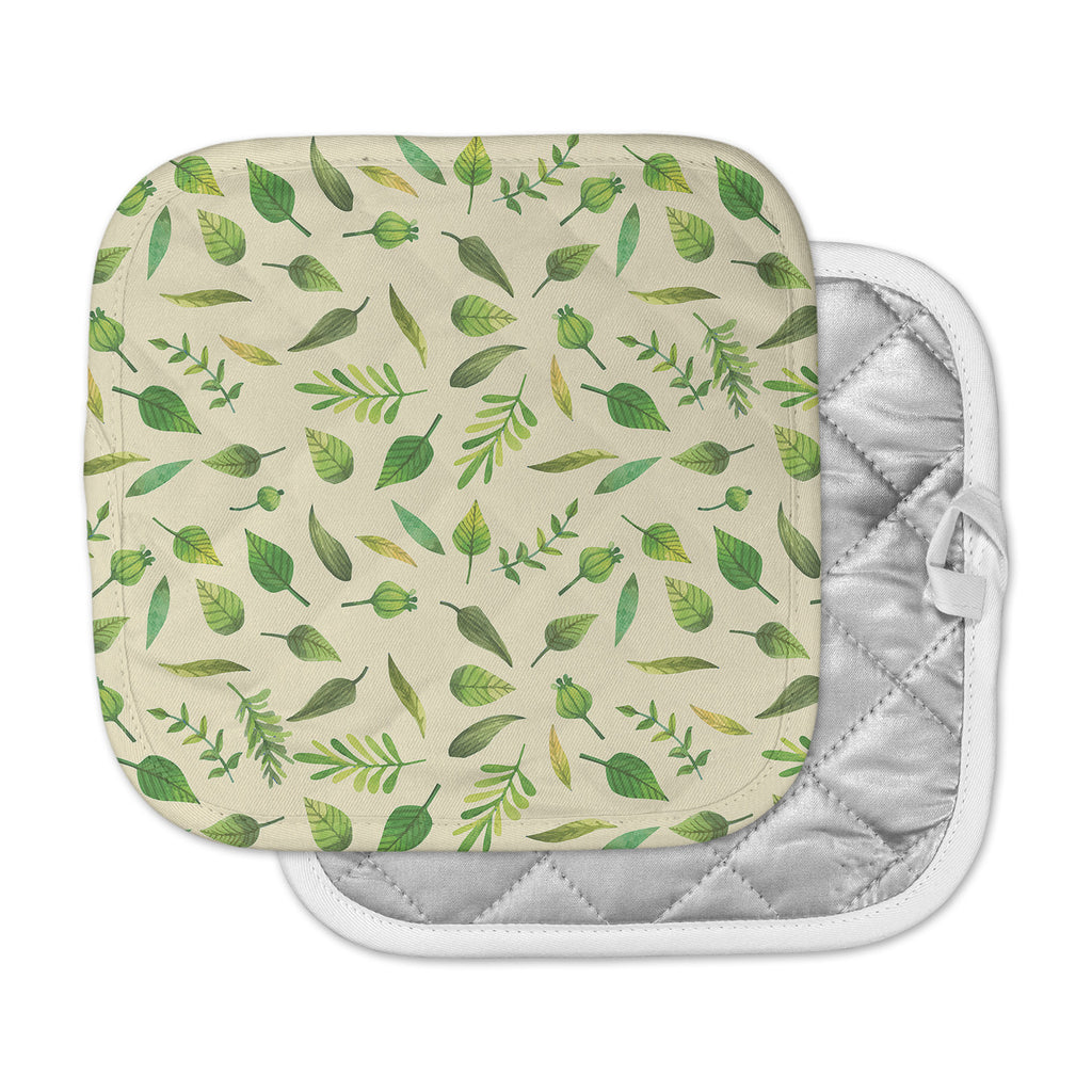 "KESS Original ""I Be-Leaf In You"" Beige Green Pot Holder"