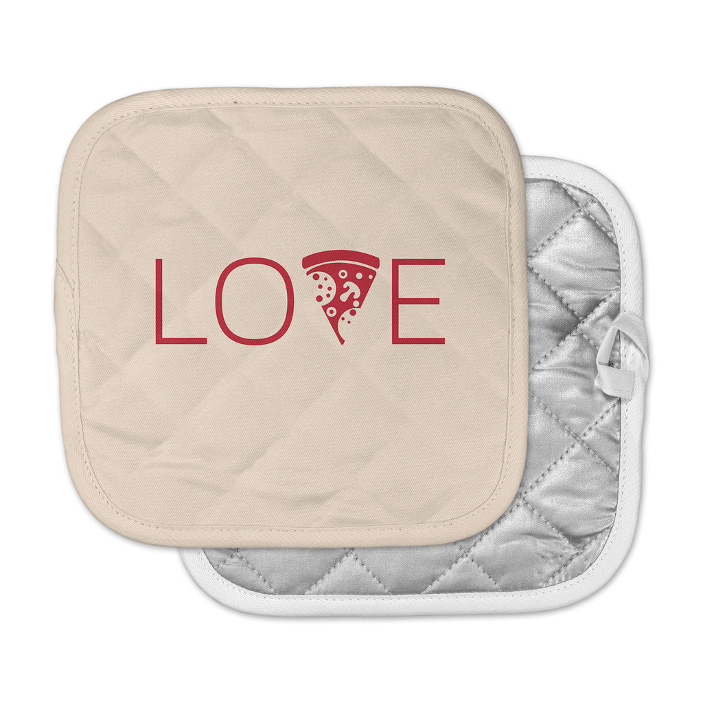 "KESS Original ""Slice of Love"" Tan Red Pot Holder"