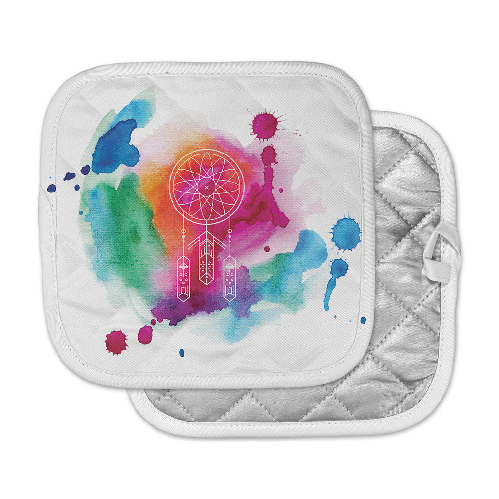 "KESS Original ""Dream In Color"" Rainbow Watercolor Pot Holder"