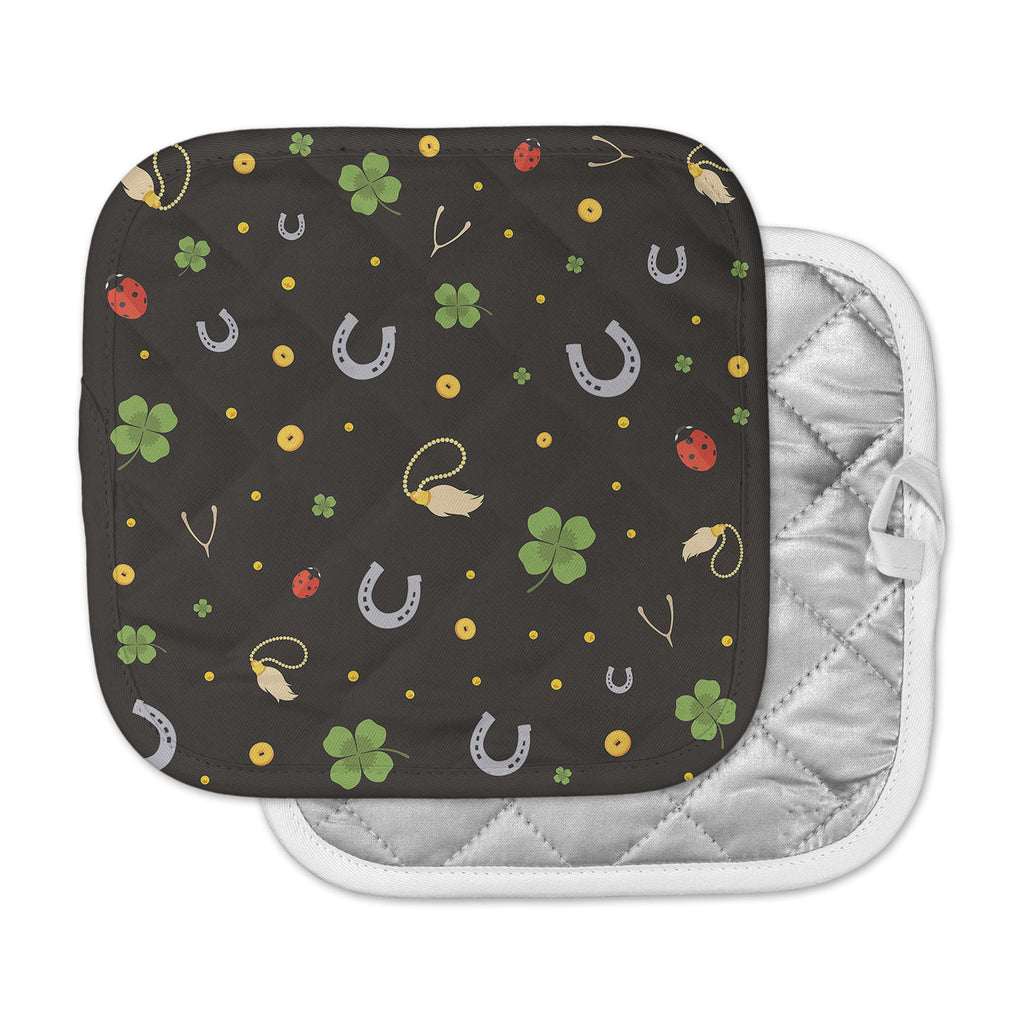 "KESS Original ""Charms"" Black Multicolor Pot Holder"