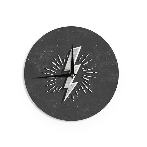 "KESS Original ""Bolt"" Black White Wall Clock - Outlet Item"