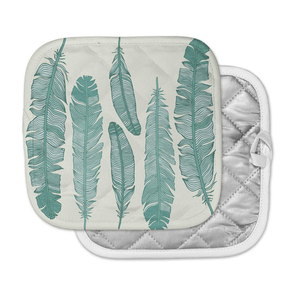"KESS Original ""Balsam Feathers"" Beige Green Pot Holder"