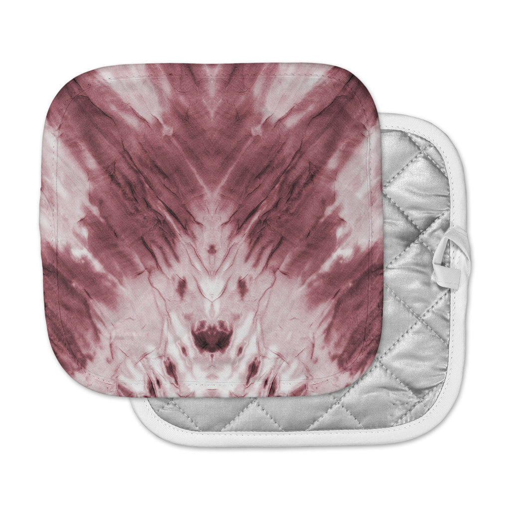 "Kess Original ""Red Dye"" Abstract White Pot Holder"