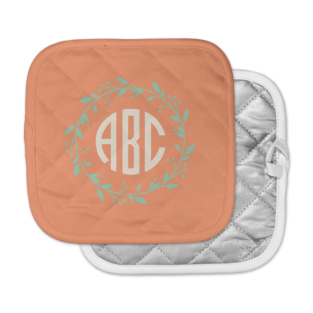 "Kess Original ""Classic Orange Wreath Monogram"" Green Illustration Pot Holder"
