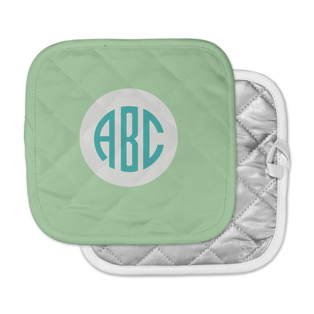 "Kess Original ""Classic Green Circle Monogram"" Teal Illustration Pot Holder"