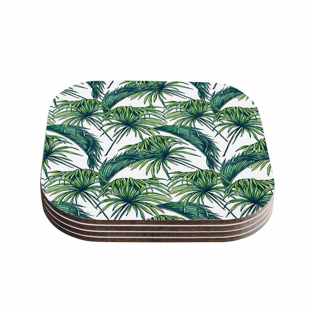 "Kess Original ""Palmtastic"" Green Nature Coasters (Set of 4)"