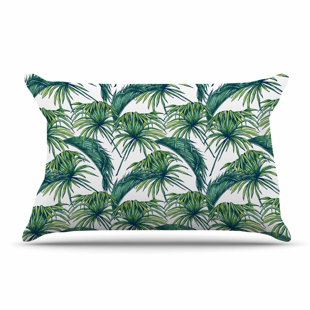 "Kess Original ""Palmtastic"" Green Nature Pillow Sham - KESS InHouse  - 1"