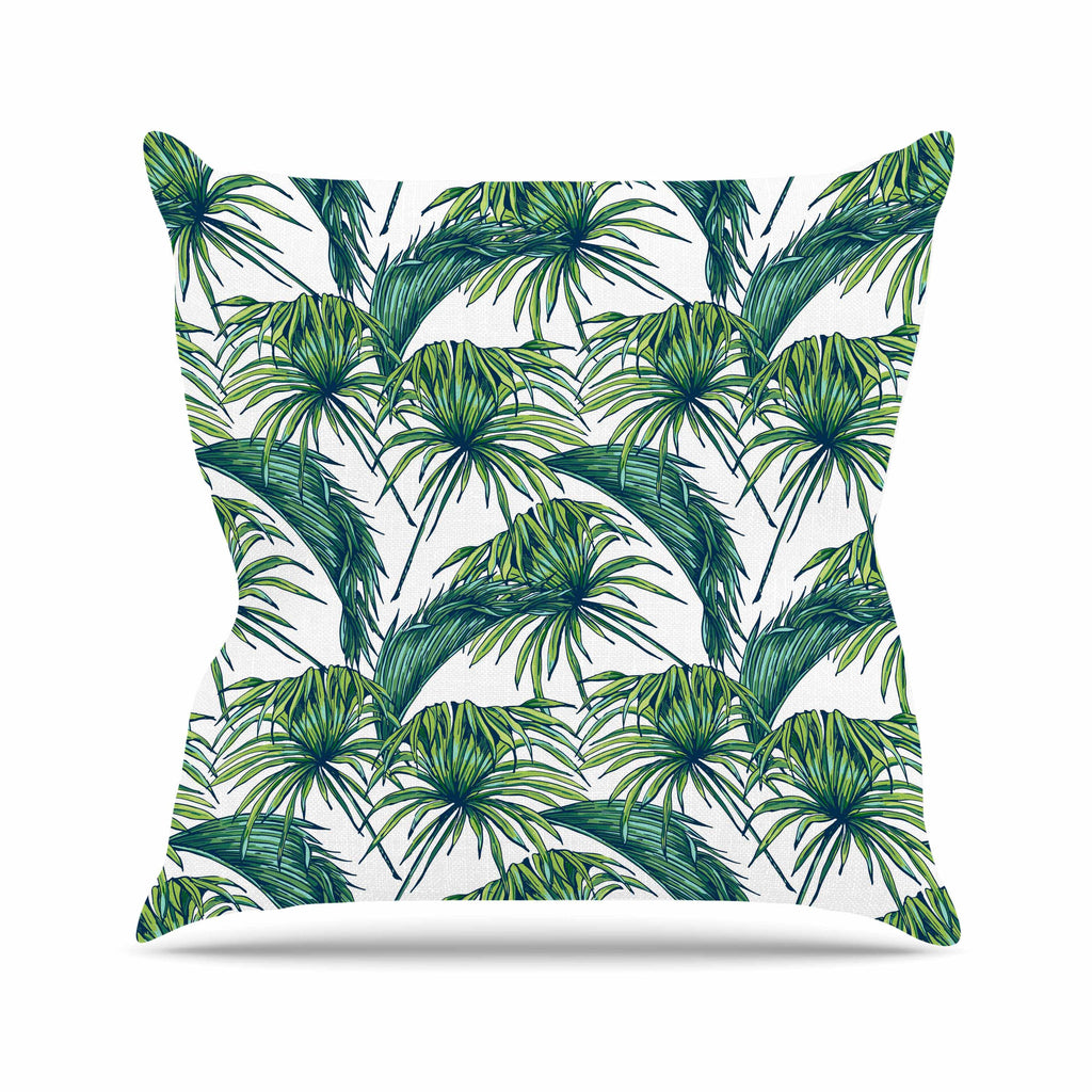 "Kess Original ""Palmtastic"" Green Nature Outdoor Throw Pillow - KESS InHouse  - 1"