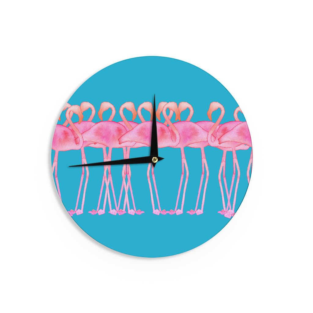 "Kess Original ""Flamboyance"" Pink Animals Wall Clock - KESS InHouse"