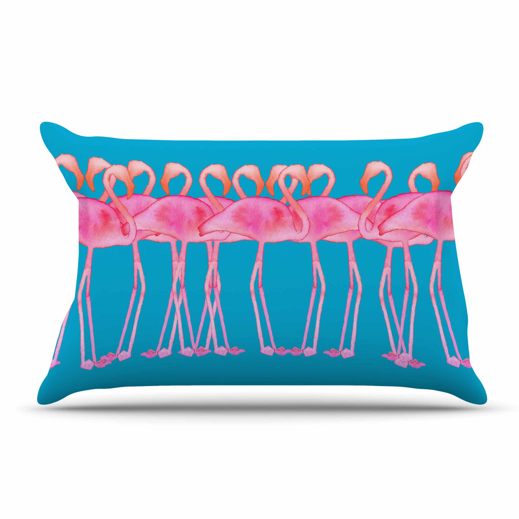 "Kess Original ""Flamboyance"" Pink Animals Pillow Sham - KESS InHouse  - 1"
