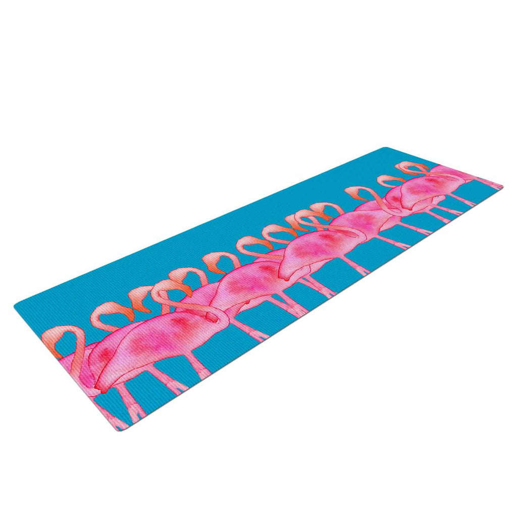 "Kess Original ""Flamboyance"" Pink Animals Yoga Mat - KESS InHouse  - 1"