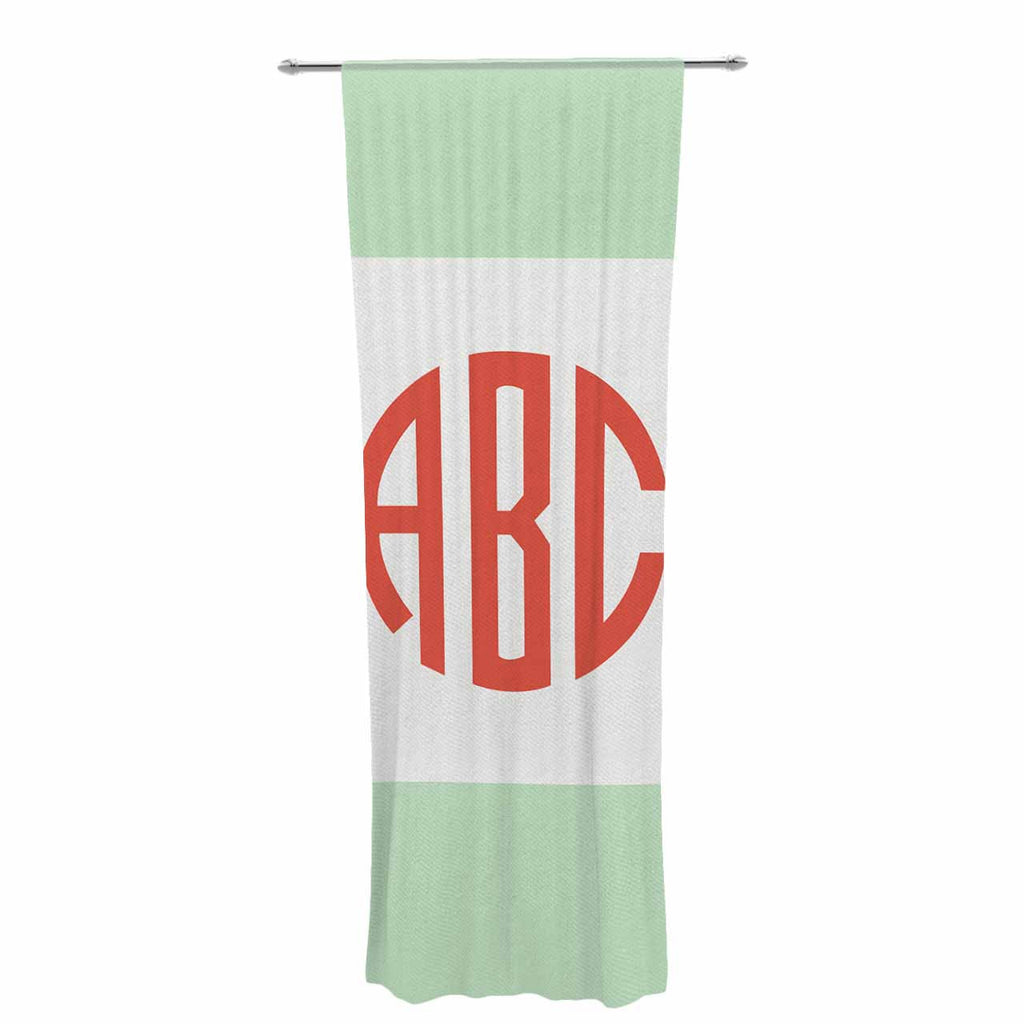 "Kess Original ""Classic Monogram Green "" Green Monogram Decorative Sheer Curtain - KESS InHouse  - 1"