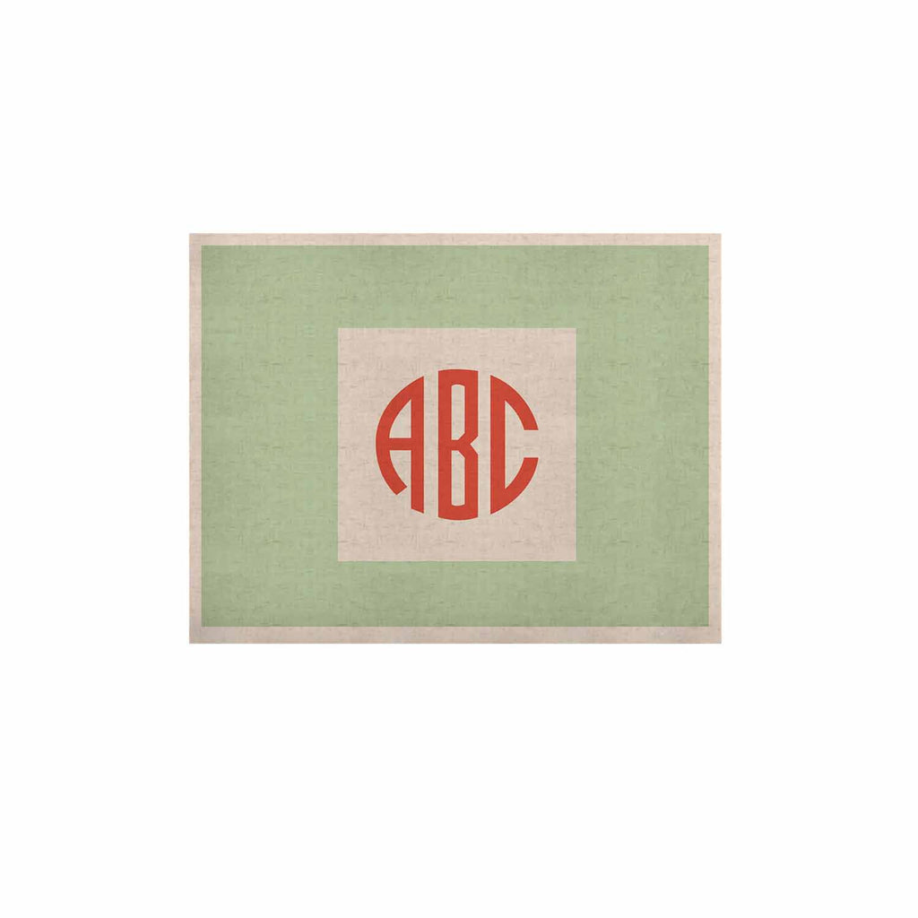 "Kess Original ""Classic Monogram Green "" Green Monogram KESS Naturals Canvas (Frame not Included) - KESS InHouse  - 1"