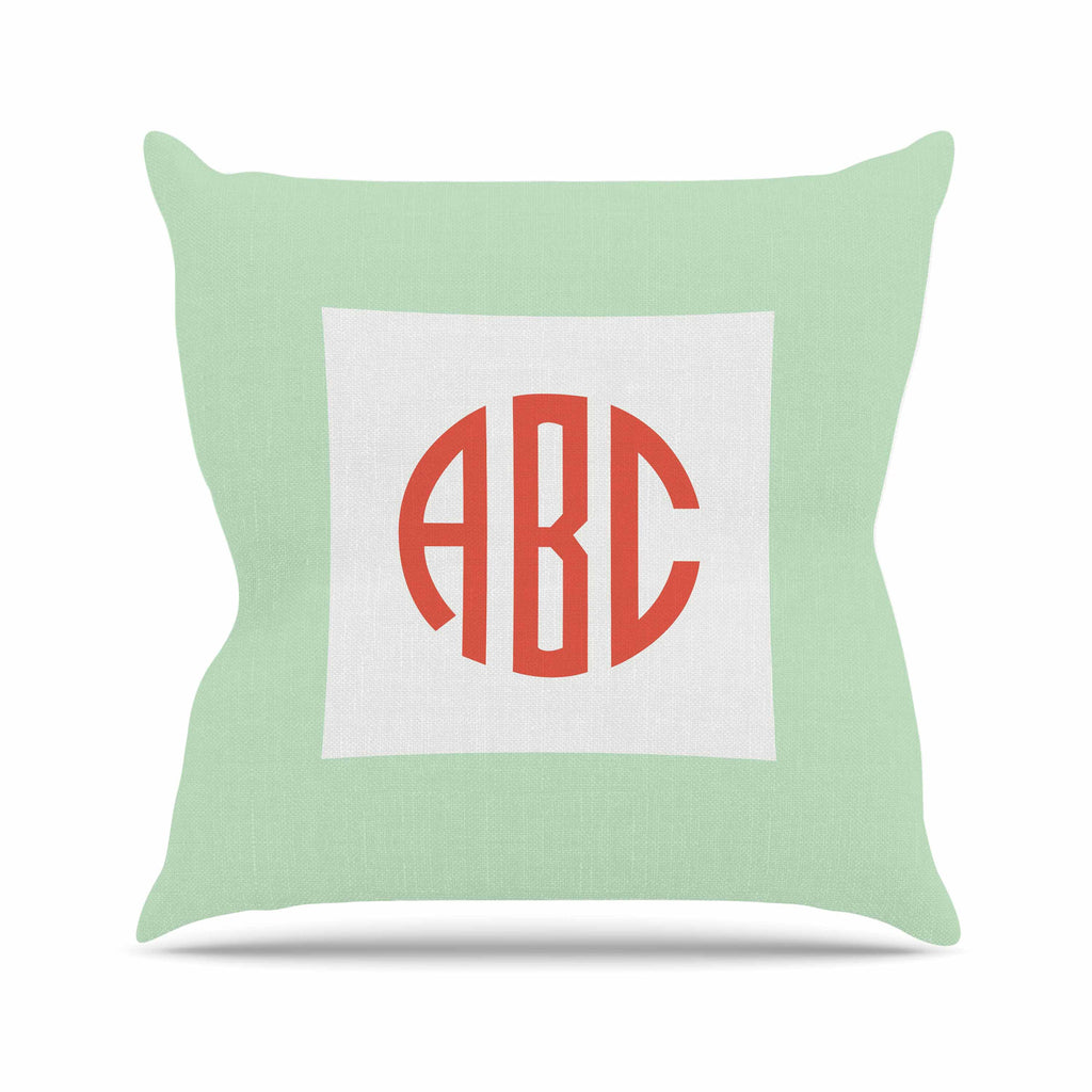 "Kess Original ""Classic Monogram Green "" Green Monogram Throw Pillow - KESS InHouse  - 1"