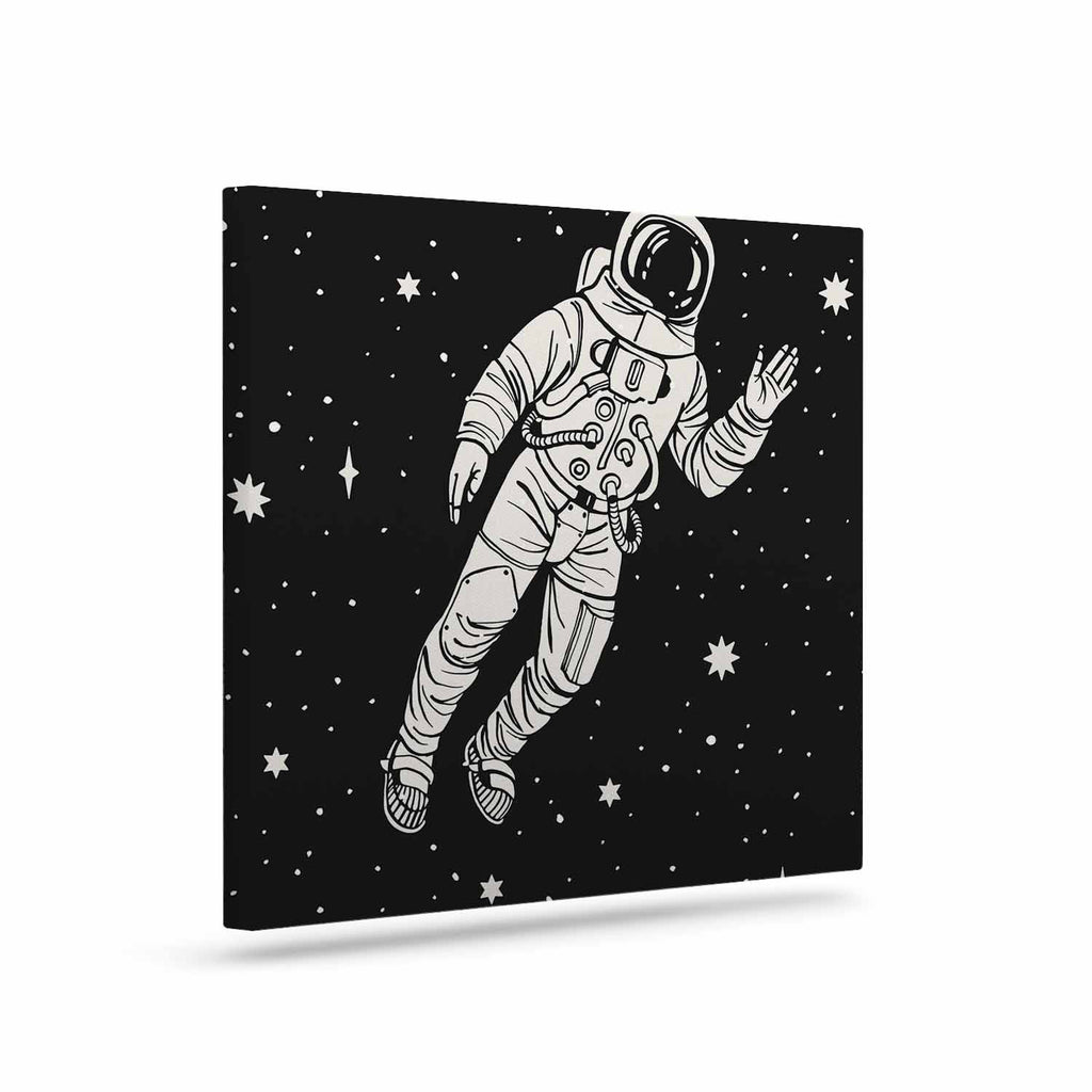 "Kess Original ""Space Adventurer"" Black Fantasy Canvas Art - KESS InHouse  - 1"