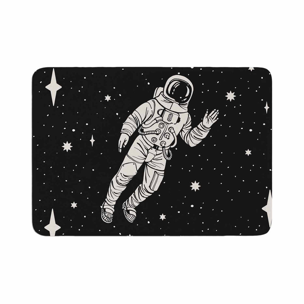 "Kess Original ""Space Adventurer"" Black Fantasy Memory Foam Bath Mat - KESS InHouse"
