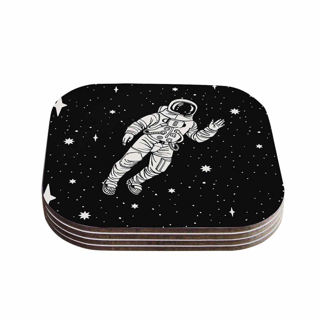 "Kess Original ""Space Adventurer"" Black Fantasy Coasters (Set of 4)"